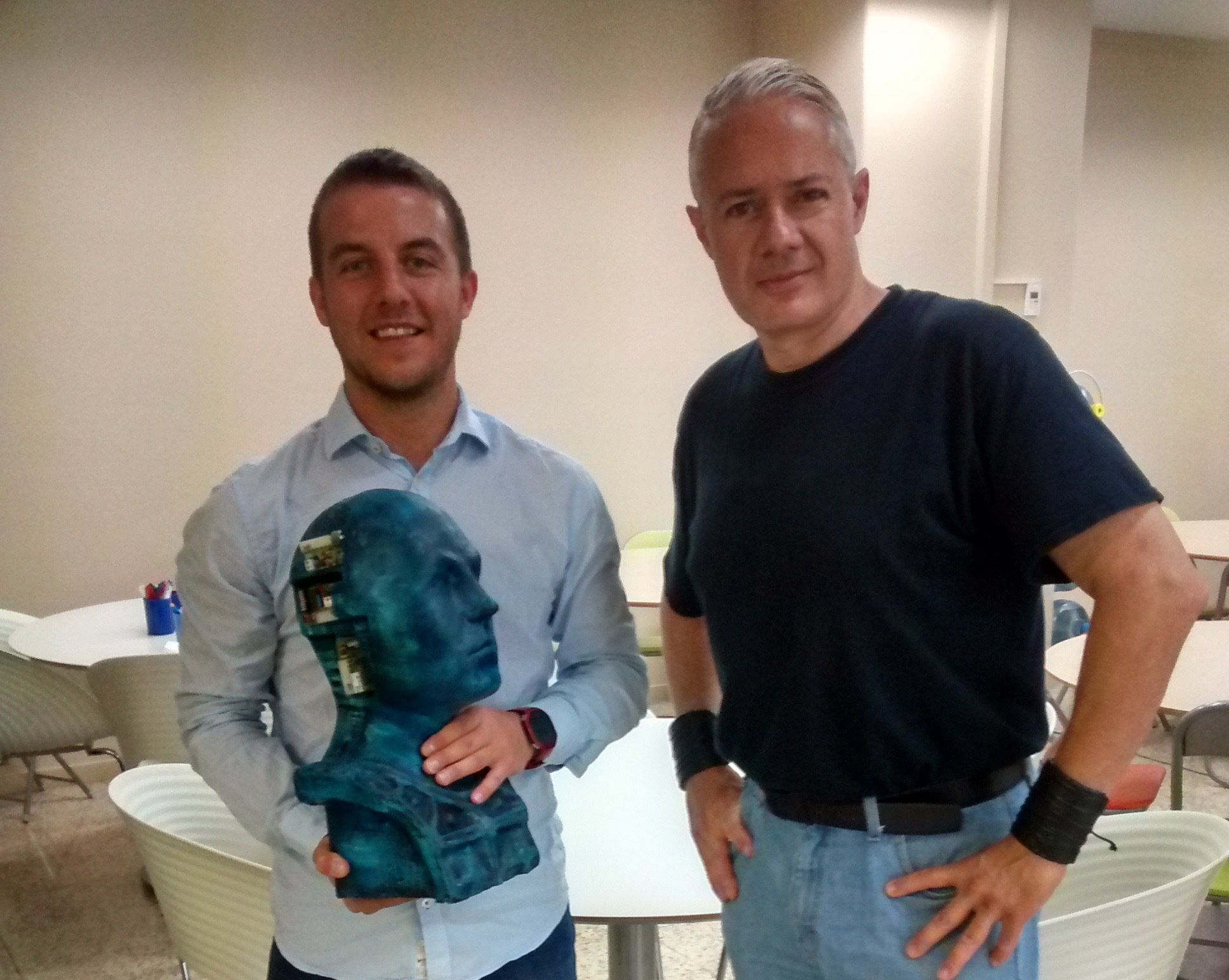 Art and robotics: CTO Luca Marchionni with the artist Rogelio Fernández.
