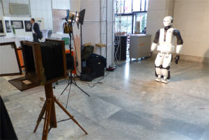 Old meets new: REEM-C robot posing with a 150 year-old camera at ERF2016.