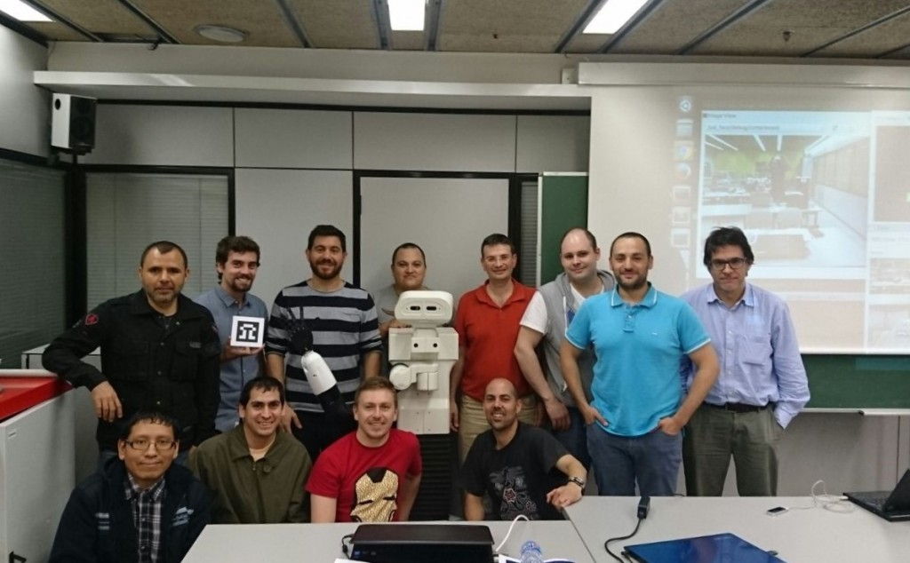 Automation, Domotics and Robotics' Masters students with TIAGo robot