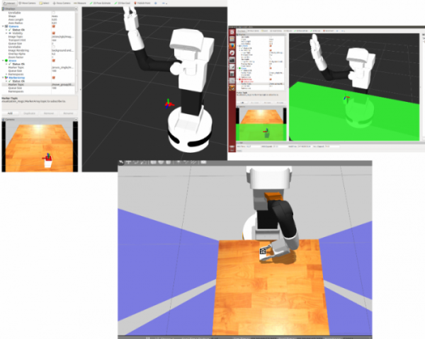 TIAGo robot in simulation performing a pick&place task.