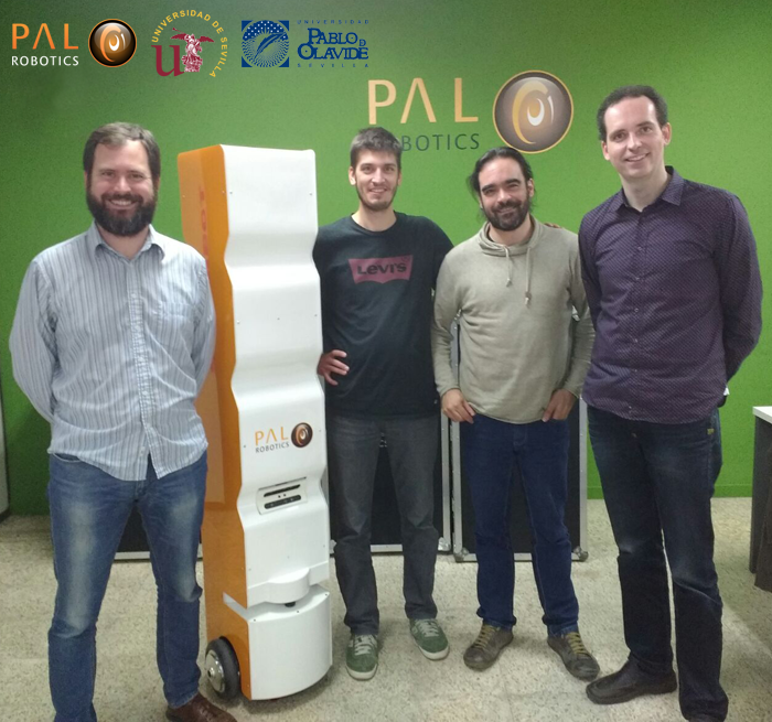 Prof. Fernando Caballero and Luis Merino with StockBot team for localization system integration ROS