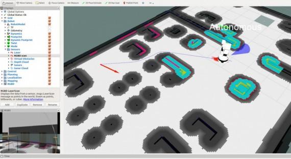 Autonomous TIAGo robot navigation path.