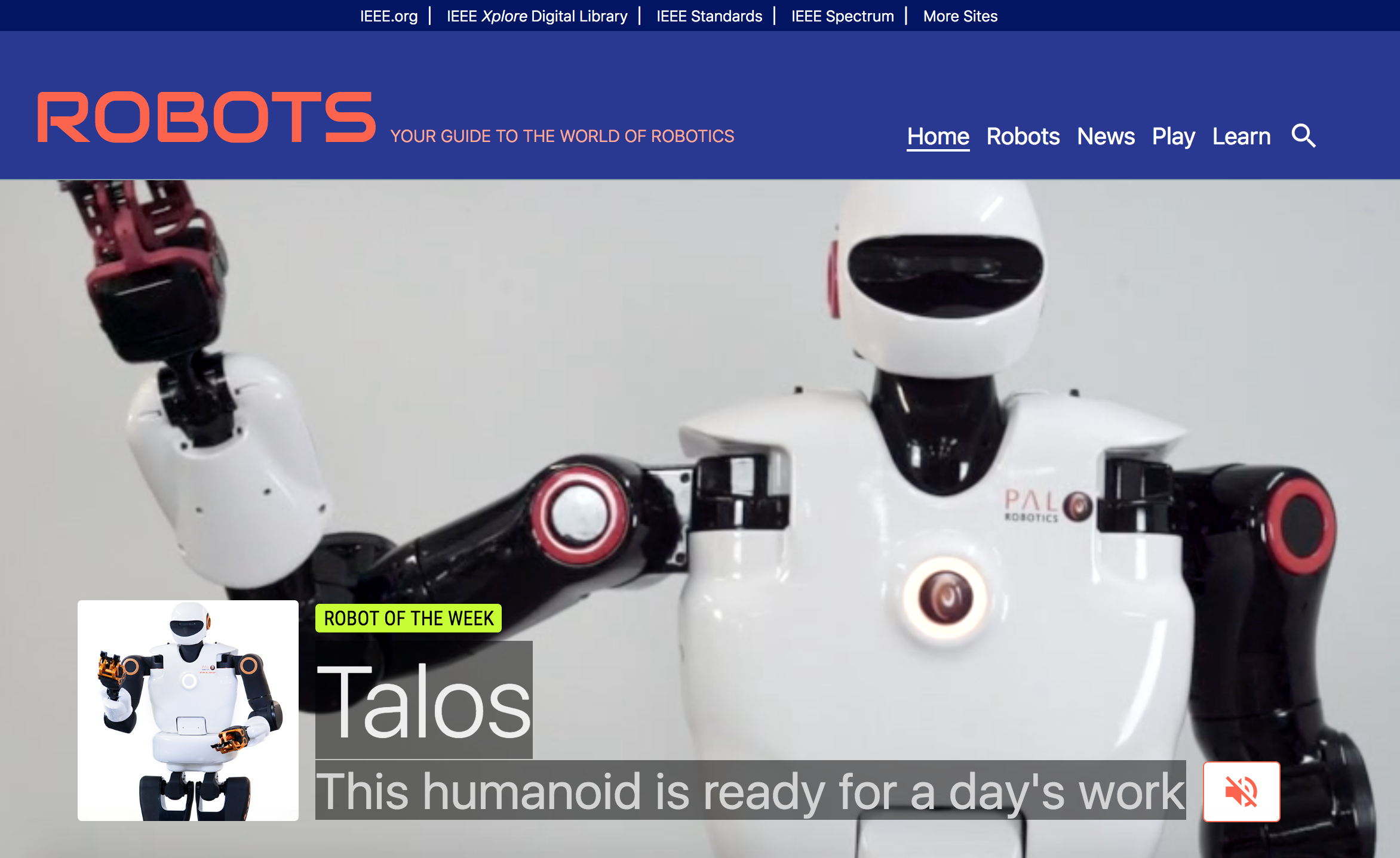 TALOS: The Robot of the Week at the IEEE Robots Guide!